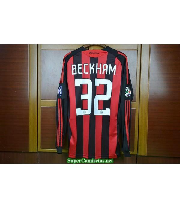 Camisetas Clasicas AC milan Hombre Manga Larga 32 Beckham 2008-09