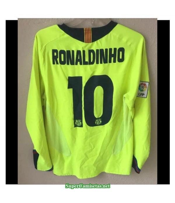 Camisetas Clasicas Barcelona green away Manga Larga 10 Ronaldinho 2005-06
