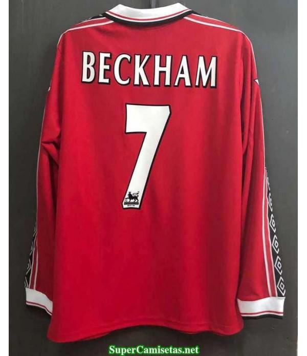 Camisetas Clasicas Manchester united Hombre Manga Larga 7 Beckham 1998-99