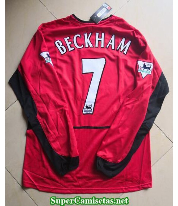 Camisetas Clasicas Manchester United Hombre Manga Larga 7 Beckham 2002-03