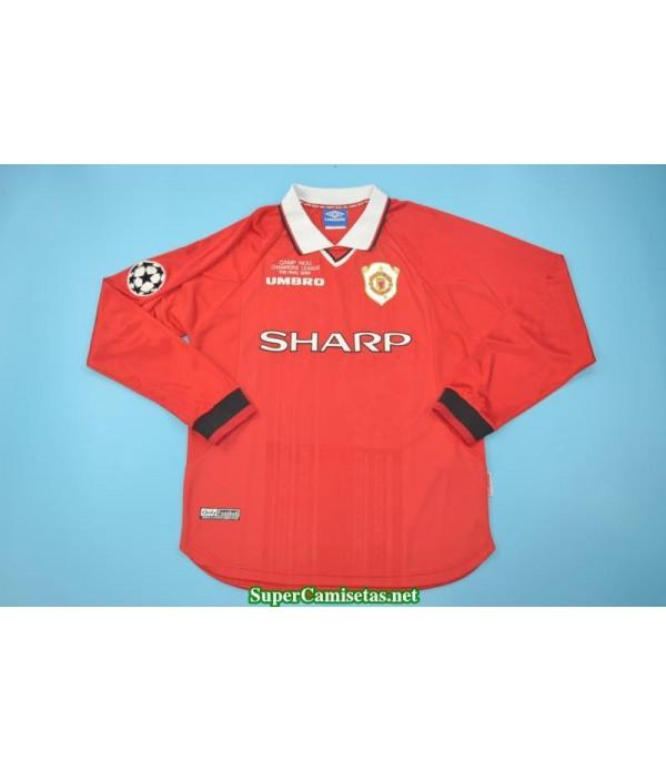 Camisetas Clasicas Manchester United Hombre Manga Larga UCL final 1999