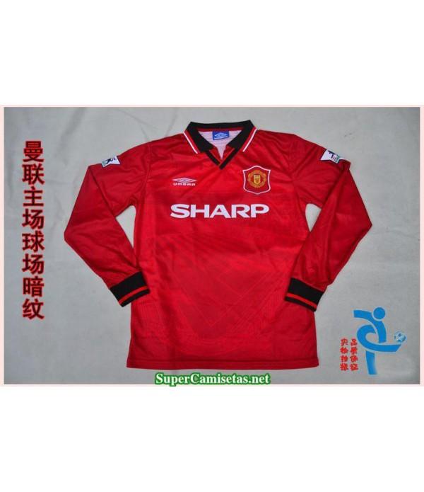 Camisetas Clasicas Manchester United Hombre red Manga Larga 1994