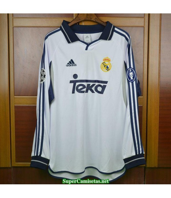 Camisetas Clasicas Real Madrid Hombre Champions League Manga Larga 2000-01