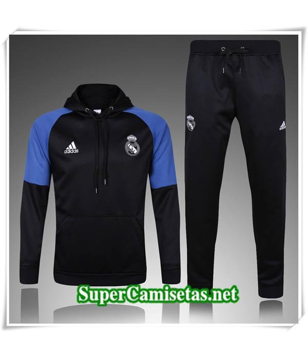 chandal Real Madrid Negro/Azul a Capuche 2017/18