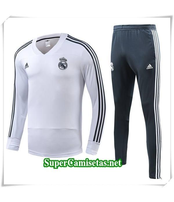 chandal Real Madrid V Blanc 2018/19 Sudadera + gris Pantalones