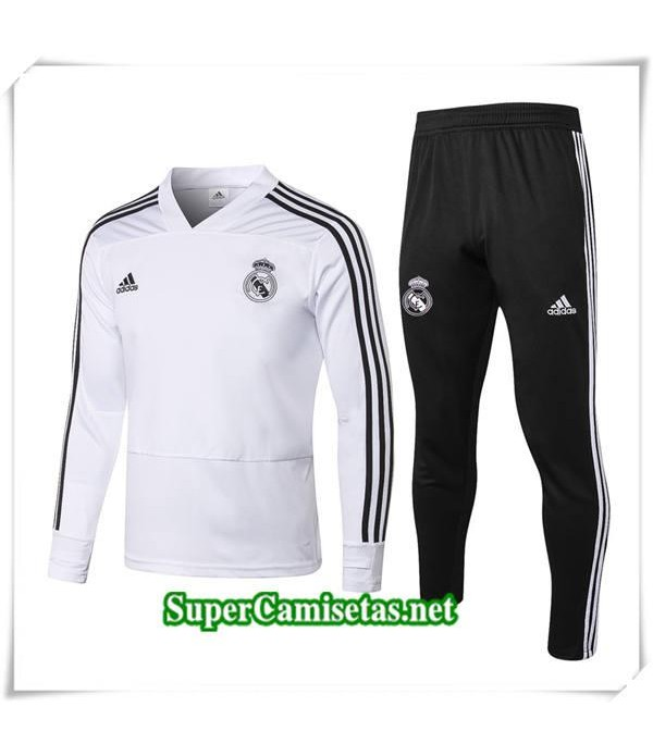 chandal Real Madrid V Blanc 2018/19 Sudadera + Negro Pantalones