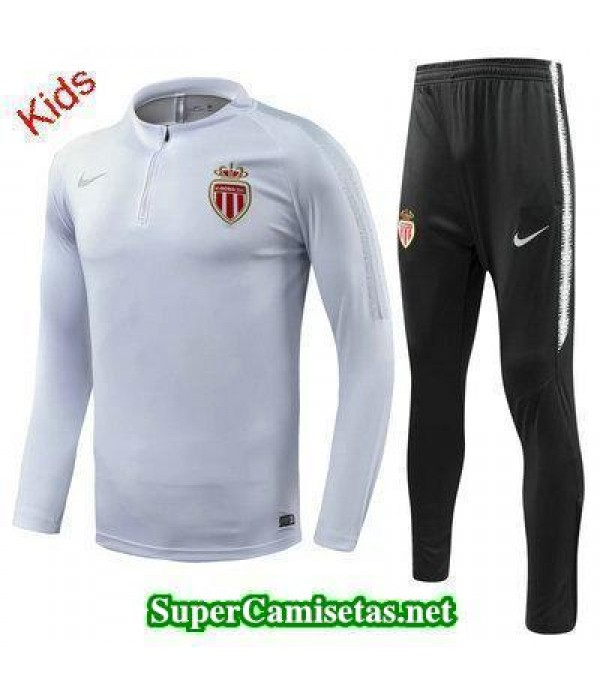 Camiseta entrenamiento AS Monaco Ninos ML Blanco 2018 2019