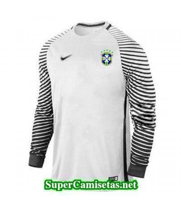 Portero Equipacion Camiseta Brasil ML Blanco 2016 2017