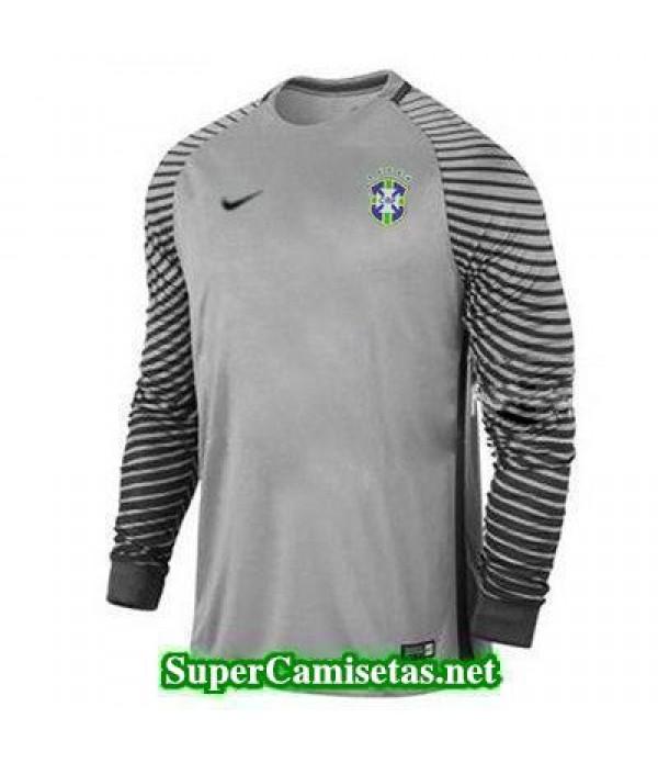 Portero Equipacion Camiseta Brasil ML Gris 2016 2017