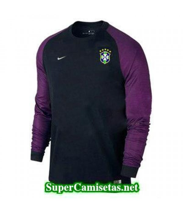 Portero Equipacion Camiseta Brasil ML Negro 2016 2017