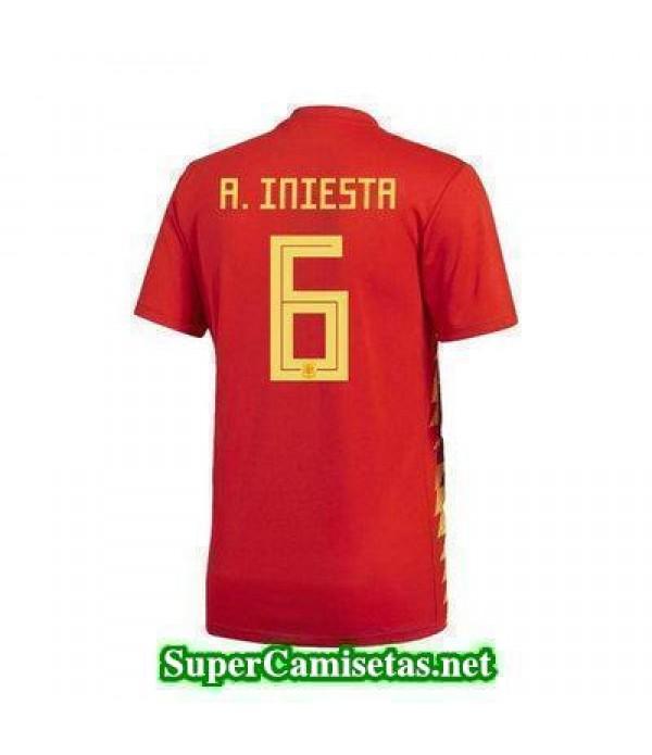 Primera Equipacion Camiseta Espana A Iniesta Copa Mundial 2018