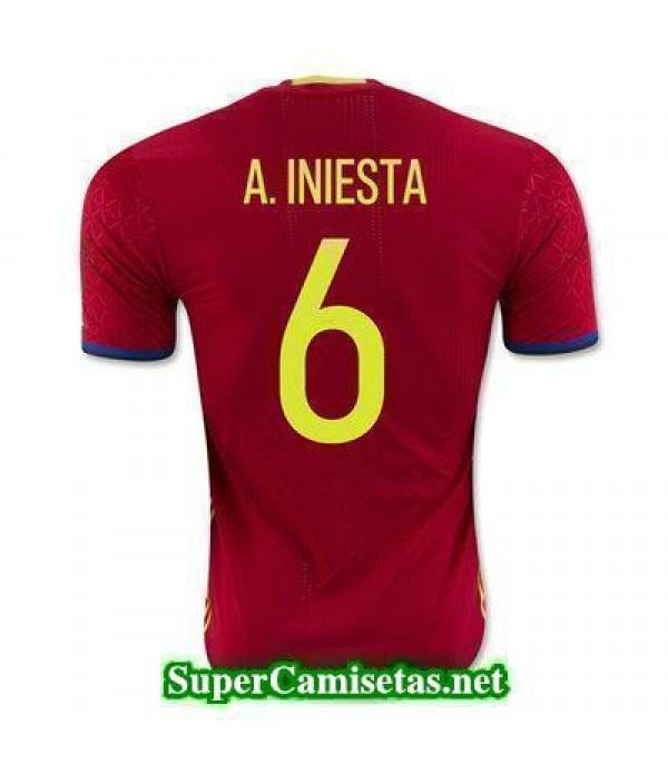 Primera Equipacion Camiseta Espana A INIESTA Euroc...