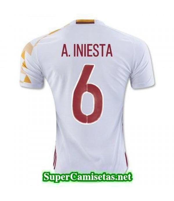 Segunda Equipacion Camiseta Espana A INIESTA Eurocopa 2016