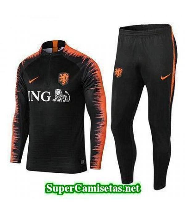 camiseta entrenamiento Holanda ML Negro 2018 2019