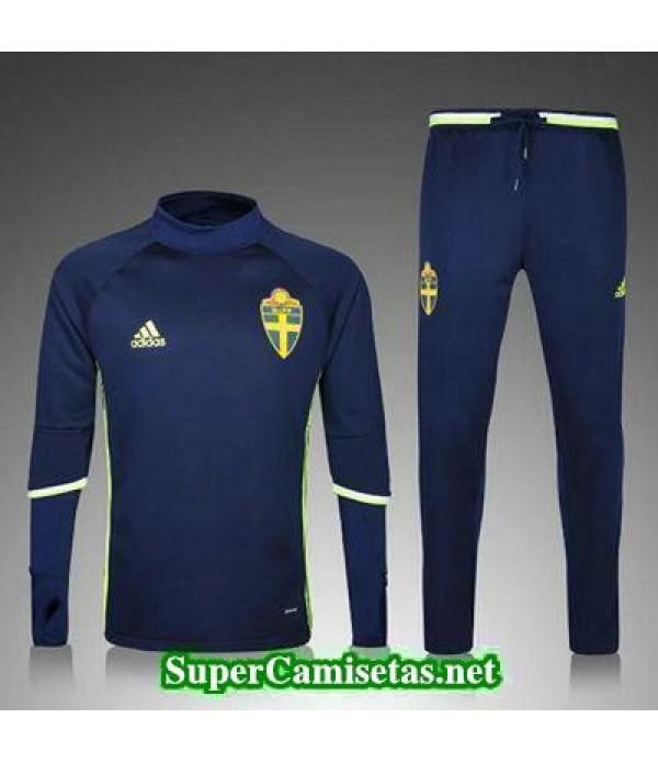 camiseta entrenamiento Suecia ML azul marino 2016