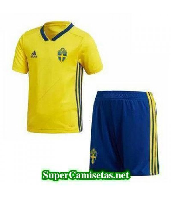 Primera Equipacion Camiseta Suecia Ninos Copa Mundial 2018