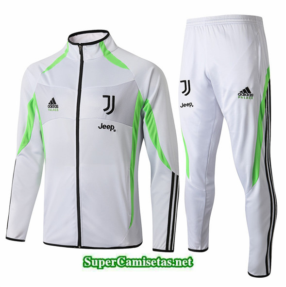 Tailandia Chaqueta Chandal Juventus V108 Blanco/banda Verde 2019/20